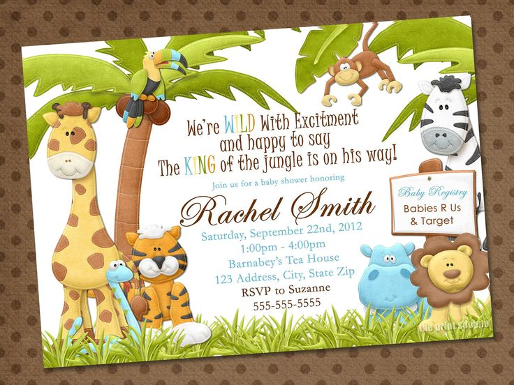 best st birthday images on   jungle party, jungle, Baby shower invitation