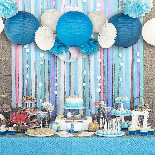 Conjunto de 13 (azul, Rosa) Fiesta Temática de playa Bajo el Mar Decoración Del Partido Set Niñas niños 1st Birthday Baby Shower Fiesta de Cumpleaños