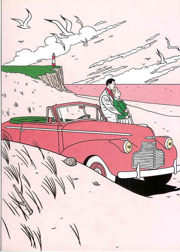 Artist = Floc'h. For the New Yorker. Note the great success of a minimal colour palette here. Cloud not particularly successful but the composition (especially the bold black for the cars shadow) is fabulous. Could there perhaps be a way of doing a similar thing for my project? (viewed 6/4/15 -)