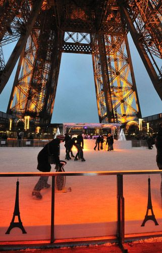 Ice skating on the observation deck of the Eiffel Tower - seriously, why wasn't this there 10 years ago when I went there in the coldest weather ever?