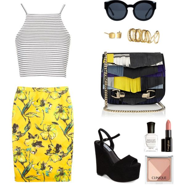 Untitled #21 by ariannavillegas on Polyvore featuring polyvore, fashion, style, Topshop, J.Crew, Steve Madden, Jimmy Choo, Satya Jewelry, H&M, Cheap Monday, Clinique, Gorgeous Cosmetics and Deborah Lippmann