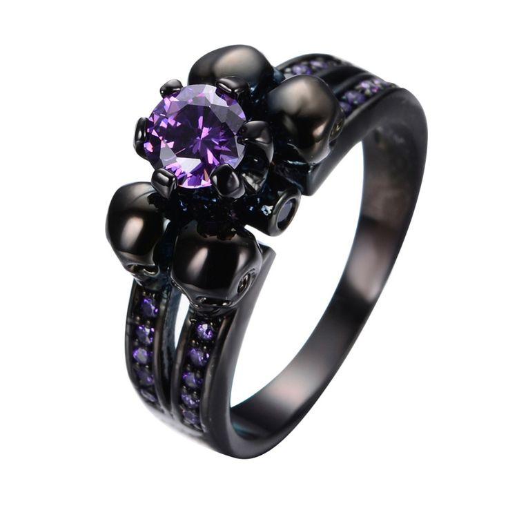 Women's Amethyst Black Skull Ring //Price: $16.69 & FREE Shipping //     #skull #skullinspiration #skullobsession #skulls
