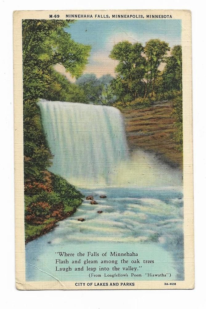 best hiawatha poem ideas teachit languages  vintage minnesota linen postcard minnehaha falls minneapolis hiawatha poem