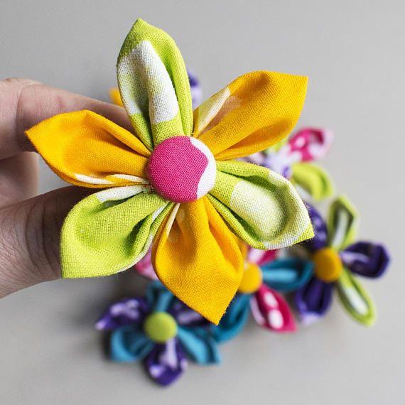 Yellow Africa Batik fabric tropical flower hair slide for girls, wedding hair ideas, bridesmaid hair clip, fun prom hair accessory for teen