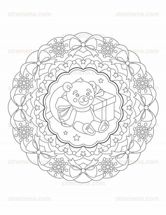 Printable Christmas Mandala Coloring Book Pdf Adult Coloring Pages