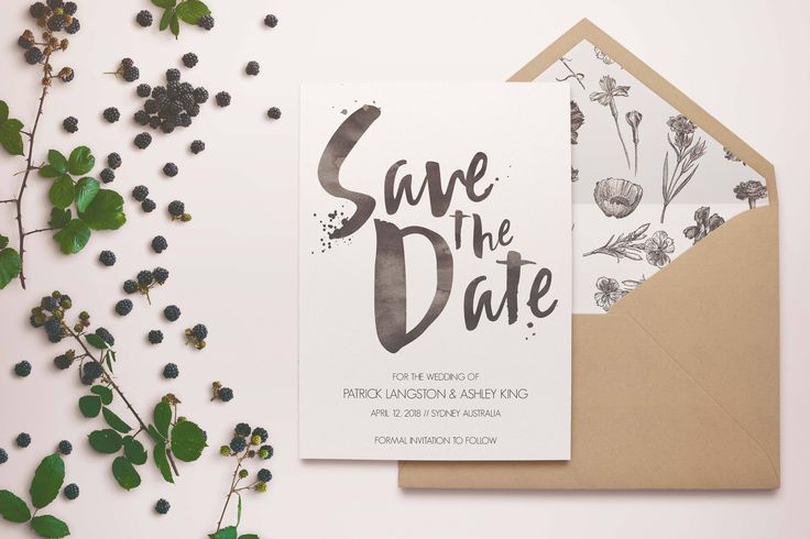Botanical Save the Date - Botanical Invites - Hand Painted Invite - Hand Written Invite - Garden Save the Date - Watercolor Save the Date