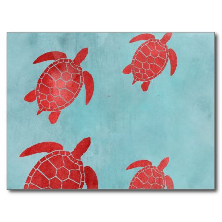 Red and Blue Green Sea Turtle Post Card