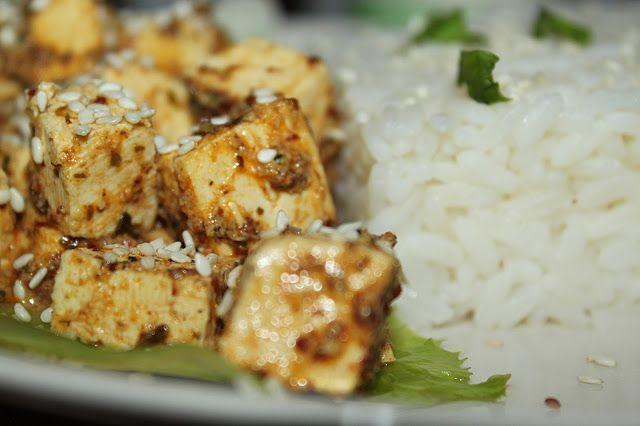 žít vege: tofu v citronovo-hořčičné omáčce s rýží