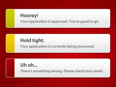Very clean error message boxes.  I like these a lot.