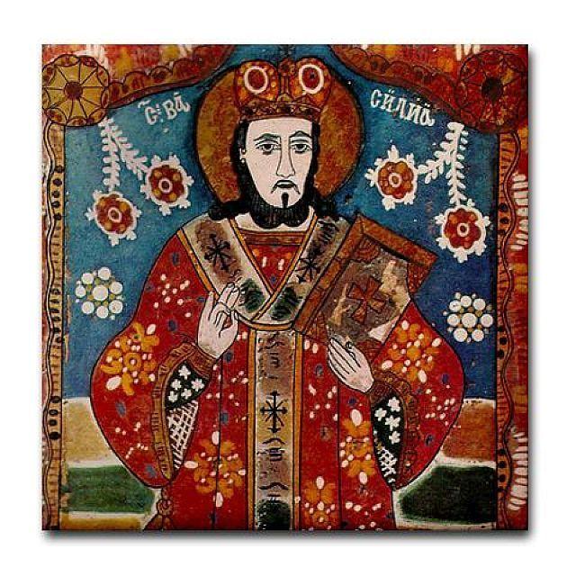Saint Basil the Great Ceramic Tile Icon Orthodox Church Romanian Folk Art