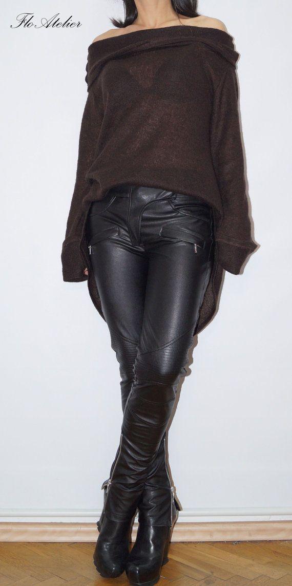 Brown Asymmetrical Sweater/Sweater Dress/Knitwear Dress/Long Pullover/Loose Plus... 2