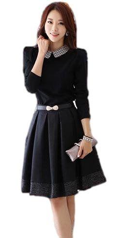 JapaNice 襟元かわいい白黒ロングスリーブワンピース Mサイズ 【リボン フレア 春 レディース 黒色 OL出勤 通勤 結婚式 入学式 卒業式 結婚式二次会】 -
