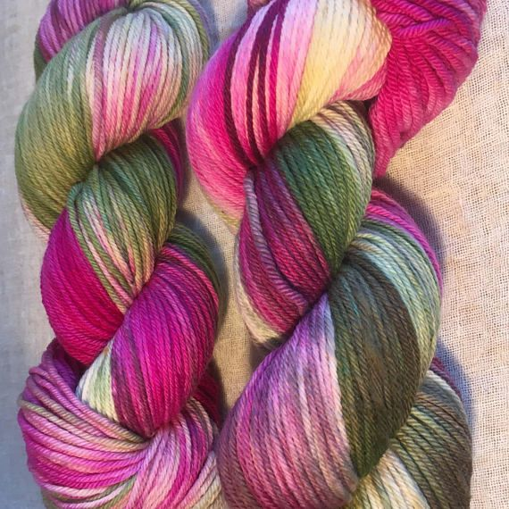 Pink and Green Dyed 8ply DK Merino Wool