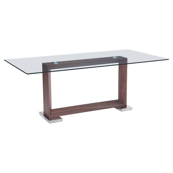 Modern 79 Rectangular Tempered Glass and Polished Stainless Steel Dining Table - Walnut (Brown) - ZM Home