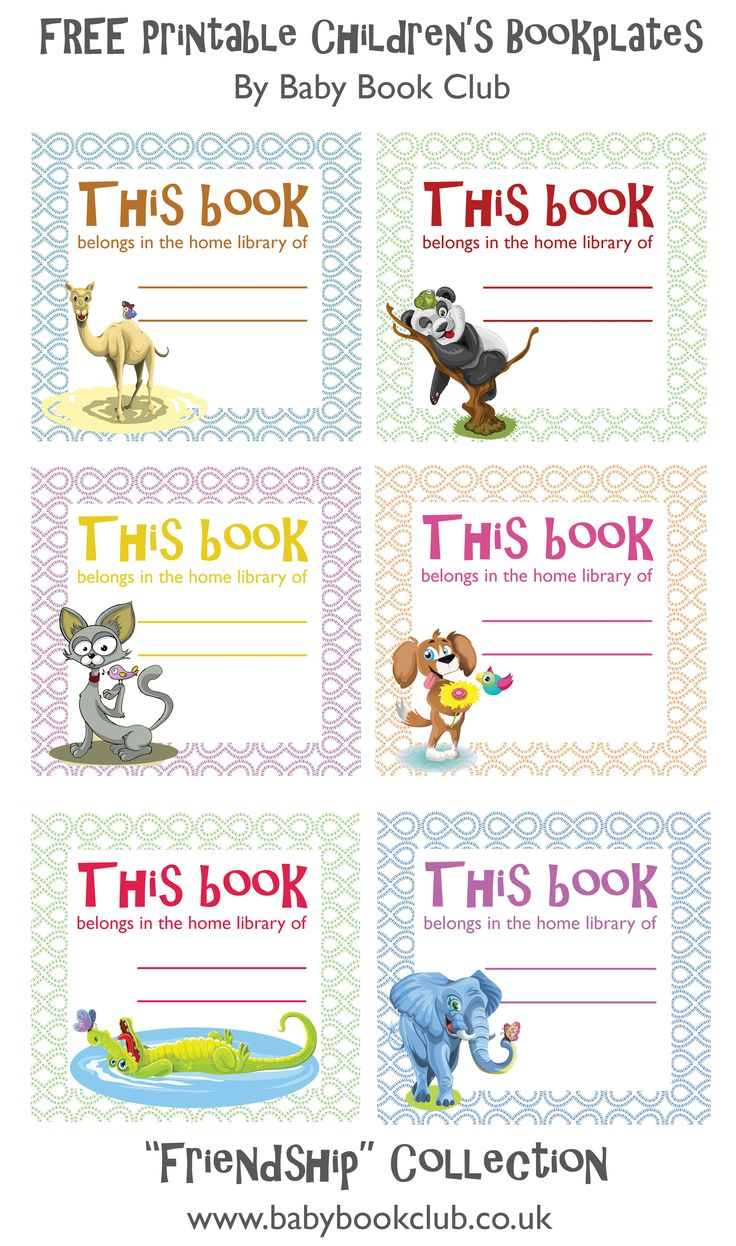Free printable childrens bookplates from  Baby Book Club