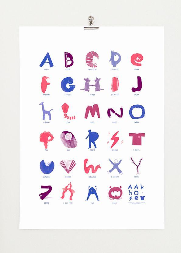 Aakkoset - Finnish Alphabet by Jenni Erkintalo, Etana Editions