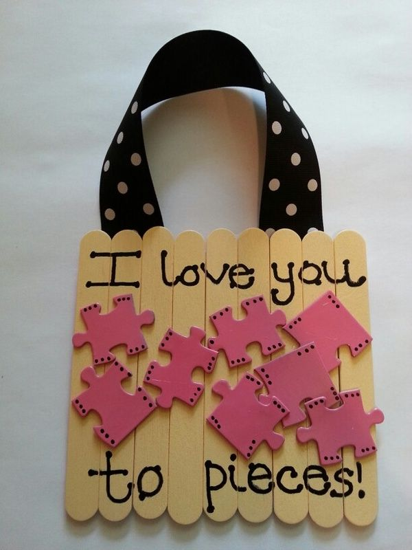 "Good idea for Mother's Day door decoration. It can say ""I Love My Mommy to Pieces!"" Put my kids name on the puzzle pieces"