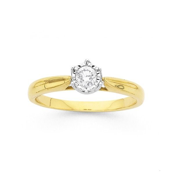 9ct Gold Diamond Solitaire Engagement Ring