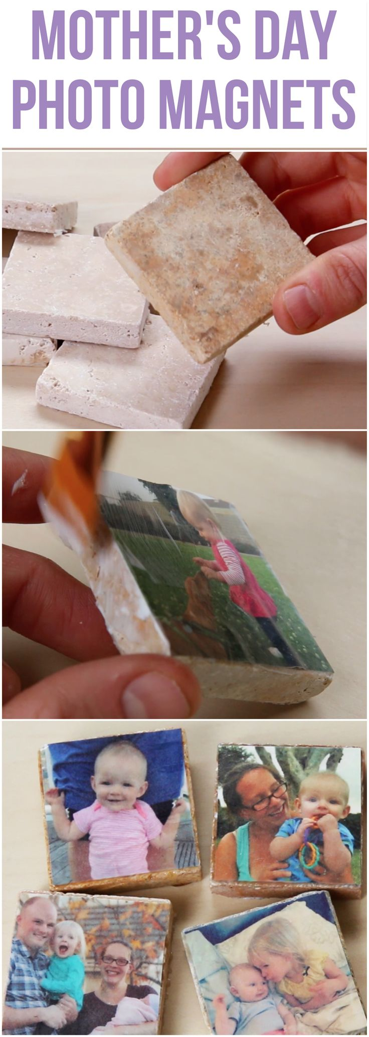 Make magnets out of tiles and printed photos with Mod Podge