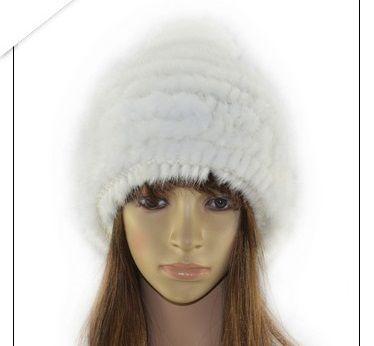 レディース 女性用 冬 春 ミンクファー/毛皮編込み ニット 帽子 横編み 帽 ハット