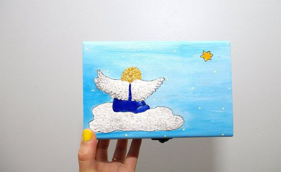 Angel painting box - Angel box - Painted wooden box - Sky Blue jewelry gift box - Hand painted Wooden box hand painted - Wood box - Painted jewelry box