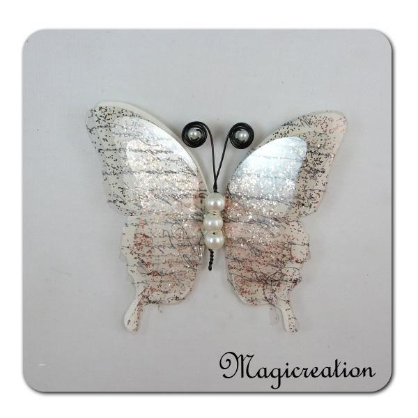 papillon GM blanc écriture