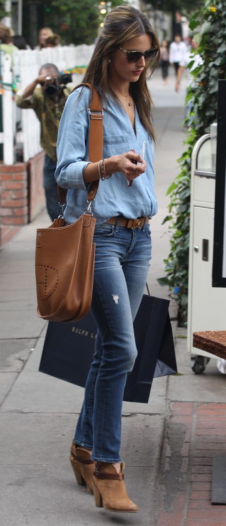 fashion, style, denim, chambray, Hermes, Evelyne III, Alessandra Ambrosio...