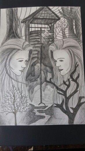 Drawing, wishing well
