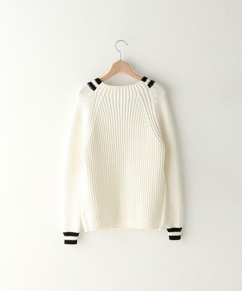 Simple white sweater with black stripe details, Steven Alan