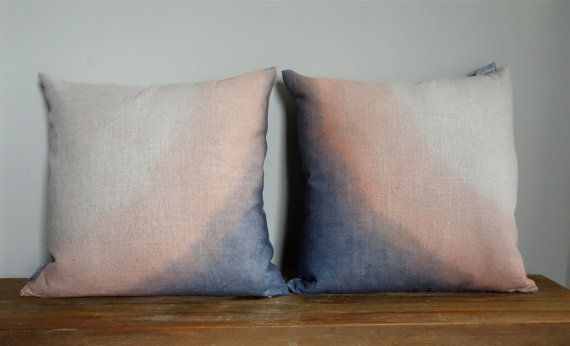 "18"" x 18"" Hand Dip Dyed Natural Linen Pillow Cover- Layered Navy Blue Blush- Home Decor- Interior Design- #1111 #1112 Ready to Ship:"