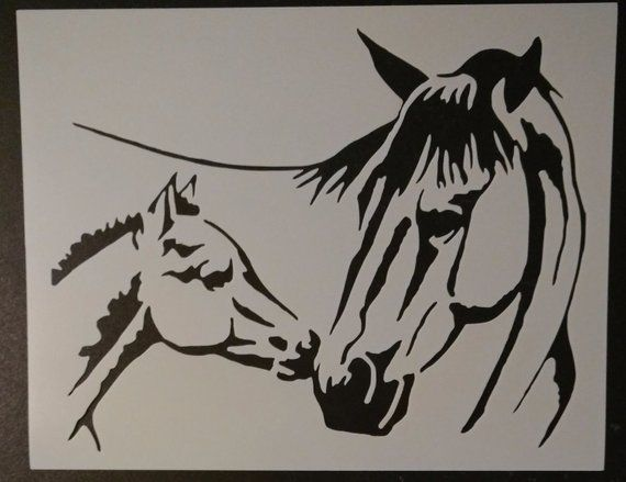 Mare Foal Mom and Baby Horse Pony Custom Stencil FAST ...