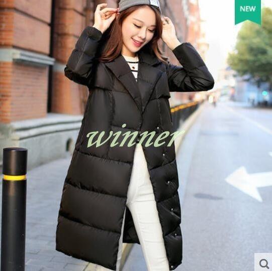 Stylish Womens Super Long Coats Slim Fit Winter Down Warm Outwear Jackets Sz