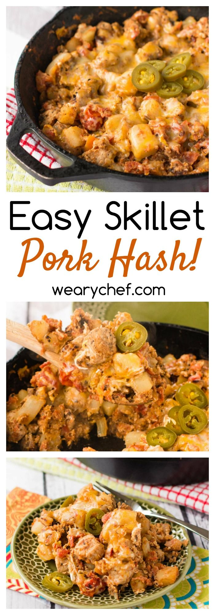 This 30-minute pork hash recipe loaded with eggs, potatoes, and tomatoes is perfect for breakfast or dinner!