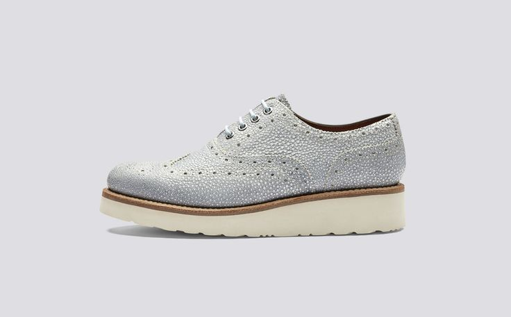 Emily | Womens Oxford Brogue in Blue Stingray Leather with a White Wedge Sole | Grenson Shoes - Side View