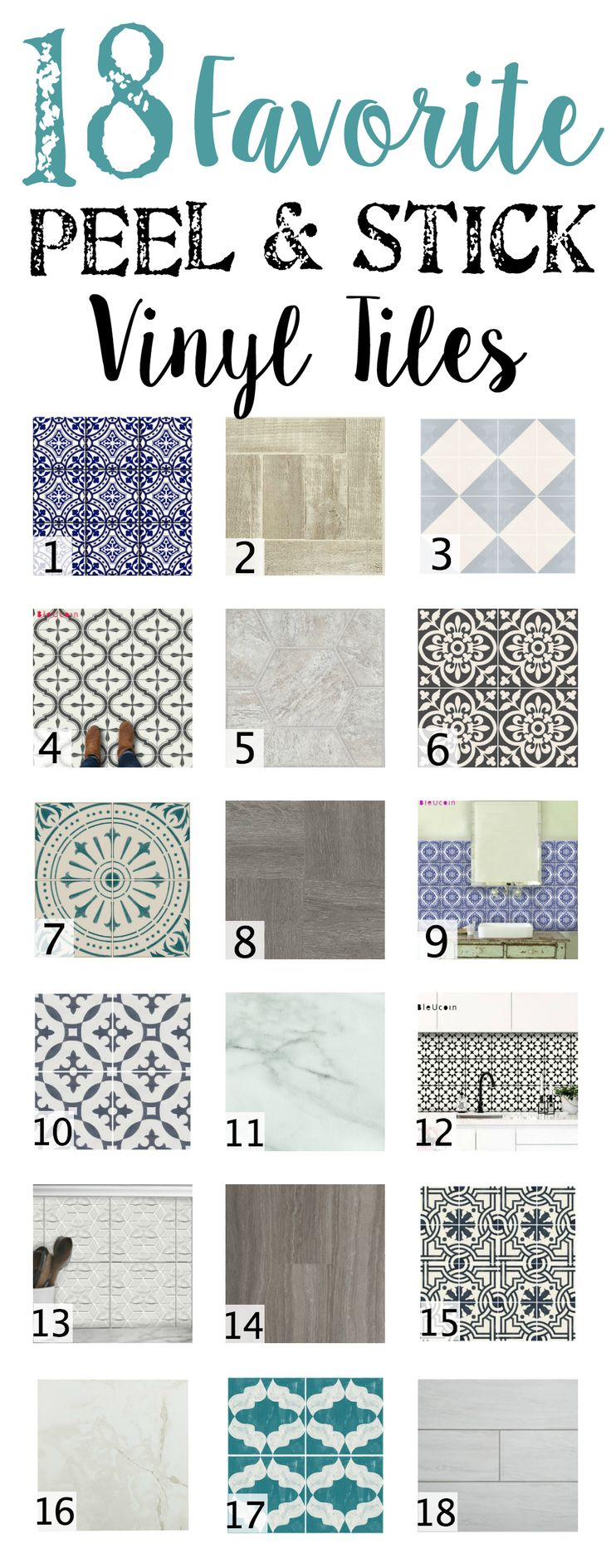 18 Favorite Peel and Stick Vinyl Tiles   blesserhouse.com - A shopping guide round-up of 18 of the best peel and stick vinyl tiles in wood-looks, stone-looks, and trendy patterns. Quick, easy, and no-mess.