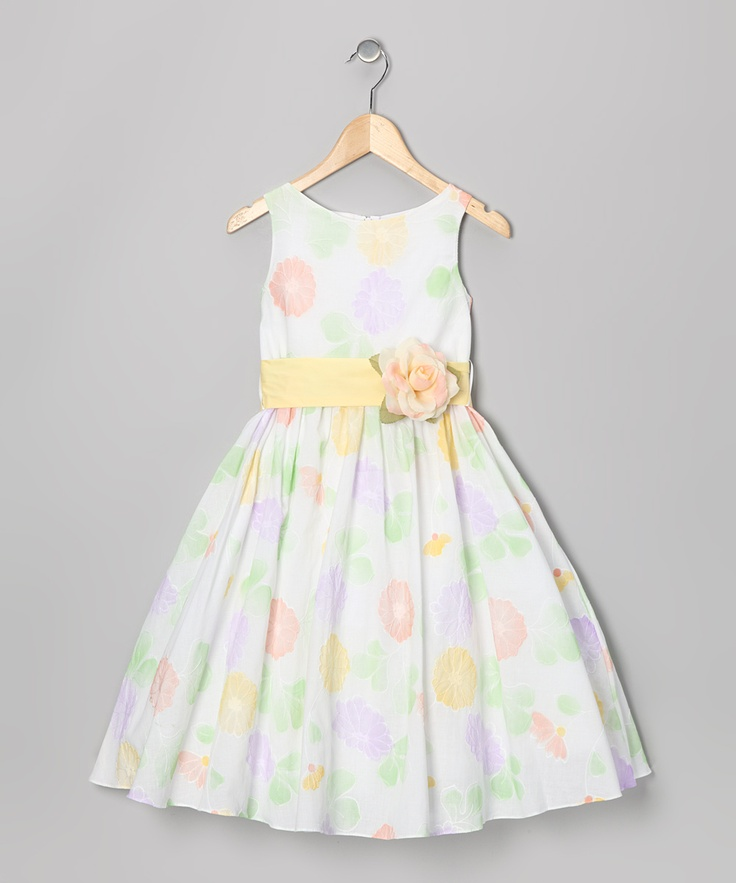 White & Sage Floral Dress - Toddler & Girls - Made in the USA by Kid's Dream
