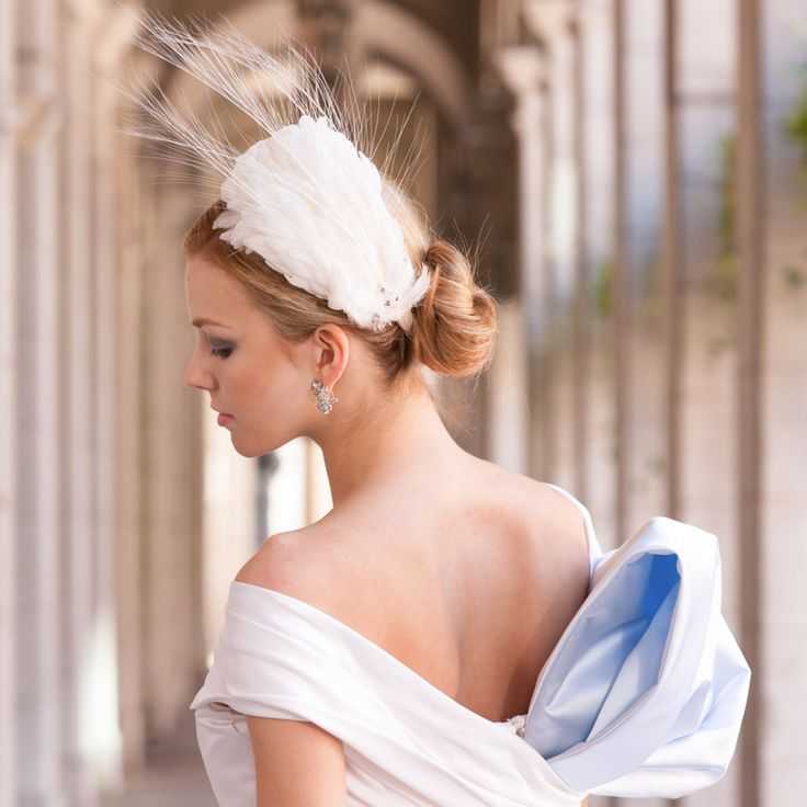 Hairpiece by David Dunkley Millinery. Wedding Dress custom made by Catherine Langlois. photo: www.eyecontact.ca
