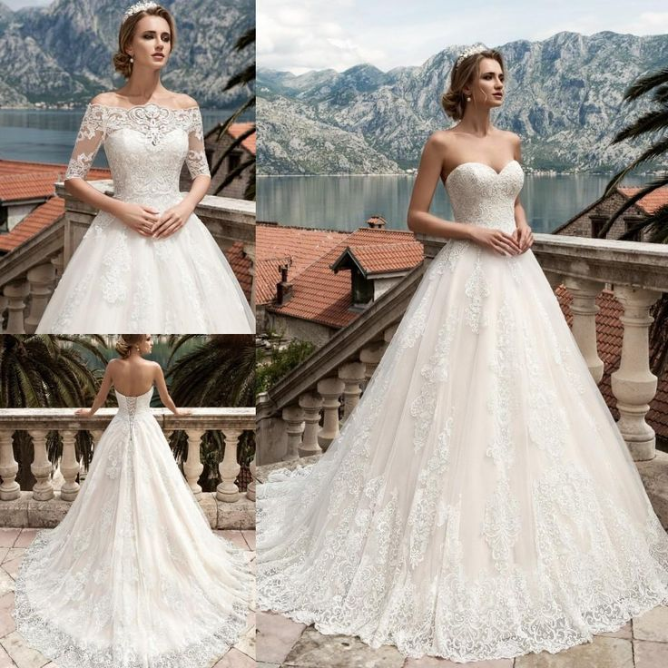 Stunning Princess Sweetheart Wedding Dresses A Line 2017 Delicate Appliques Lace Beaded Backless Bridal Gowns With Wraps Court Train Second Marriage Wedding Dresses Short Bridal Dresses From Dmronline, $151.66| Dhgate.Com