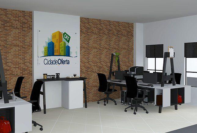 Um charme de escritório, com mesas planejadas exclusivamente para a funcionalidade dos funcionários, com nichos para bolsas individuais, e espaço compartilhado para a impressora em cada mesa.