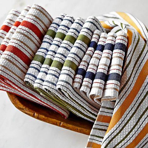 Williams Sonoma Contrast Stripe Towels, Set Of 4 | Williams Sonoma