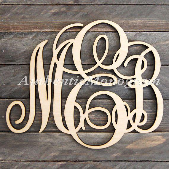 Wooden Monogram Wall Letters Unpainted  Monogram Wall Hanging