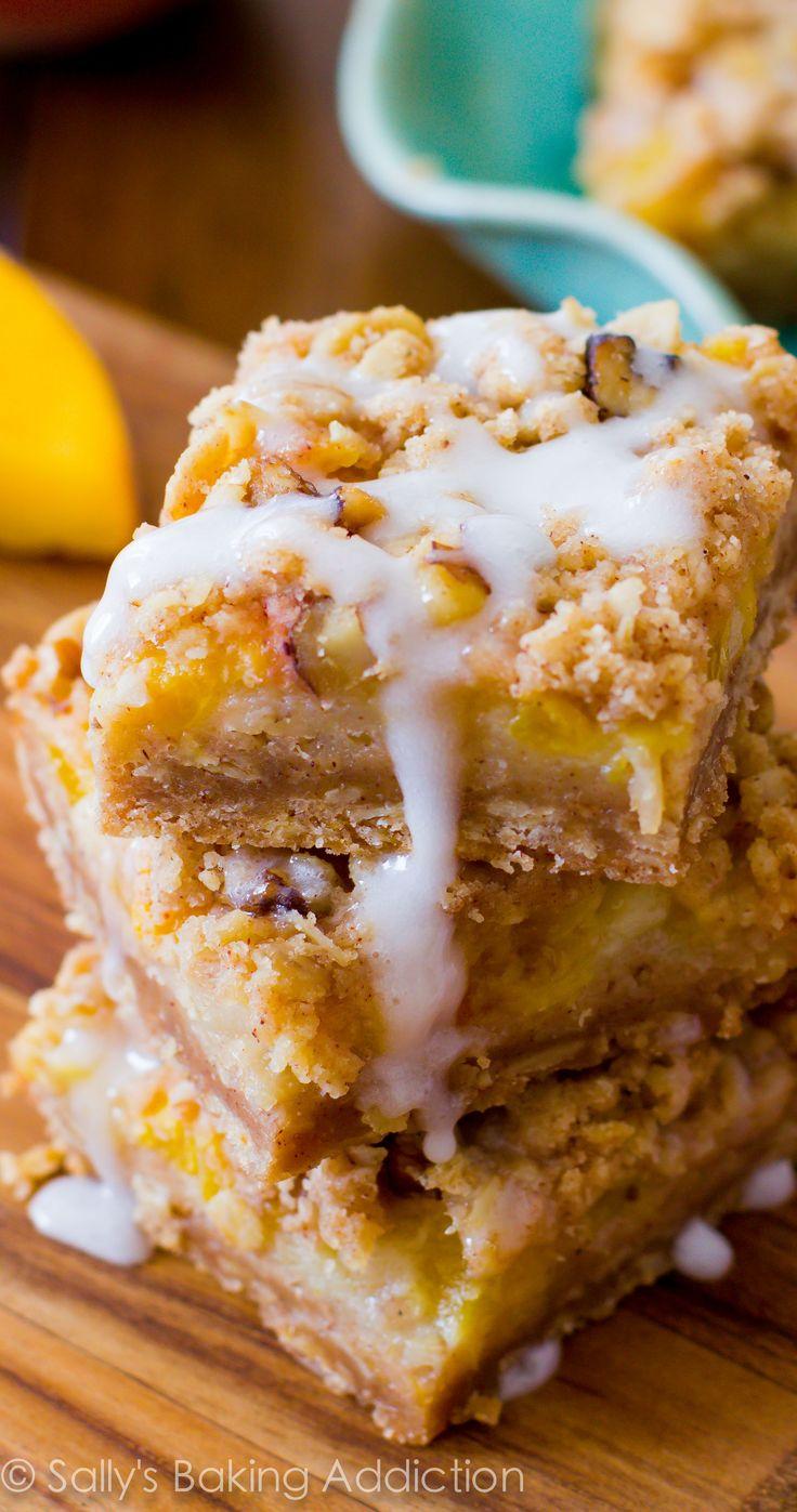 Vanilla Glazed Peaches 'n Cream Bars - a four layered bar with a brown sugar/oat crust, a creamy peach filling, pecan streusel, and vanilla glaze!