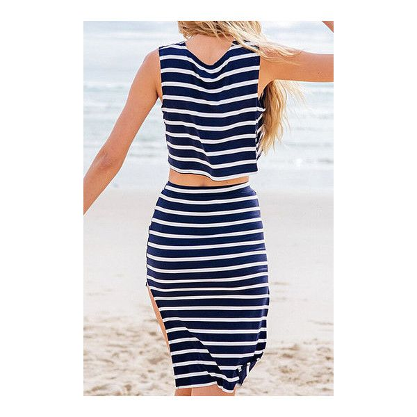 Yoins Navy and White Stripe Crop Top and Skirt Co-ord ($21) ❤ liked on Polyvore featuring skirts, navy and white striped skirt, crop skirt, navy and white skirt, stripe skirts and striped skirt