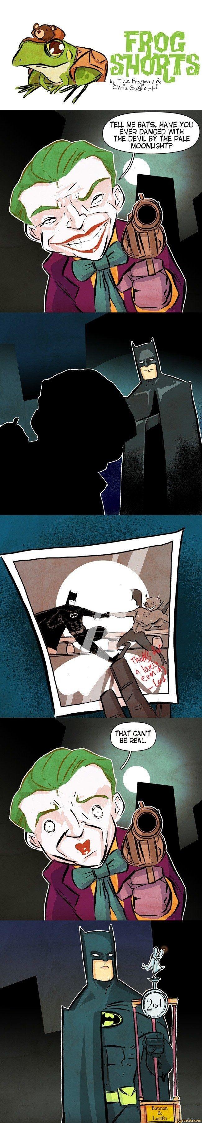 i>LJ TVte. Fro< V\a.\A & Ivu. (SuS^-t-T^TELL ME BATS, HAVE YOU EVER DANCED WITH THE DEVIL BY THE PALE ^ MOONLIGHT? ^THAT CANT BE REAL.BatmanLucifer,comics,funny comics & strips, cartoons,Batman,DC Comics,fandoms,Joker,dance