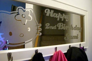 Frosted mirror or window idea using CONTACT PAPER.  The best part is, it's not permanent!