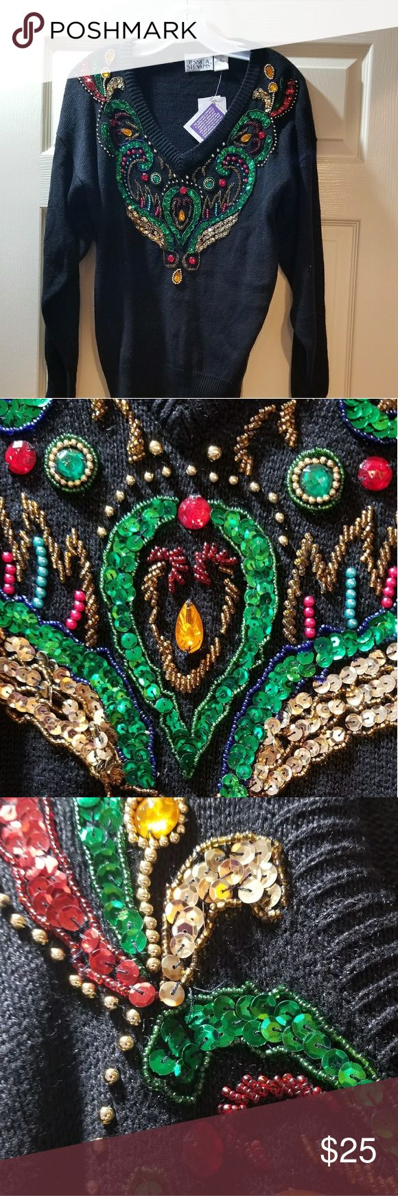 """Jessica Stevens Vintage NWT The ultimate glammed-up Holiday Sweater! How did this fall to the back of my closet without ever being worn? There's beading, jewels, sequins, color--all on a black ground. Here's the ONE you need for all those """"Wear Your Christmas Sweater"""" invites 🌲🌲🌲 Jessica Simpson Sweaters V-Necks"""