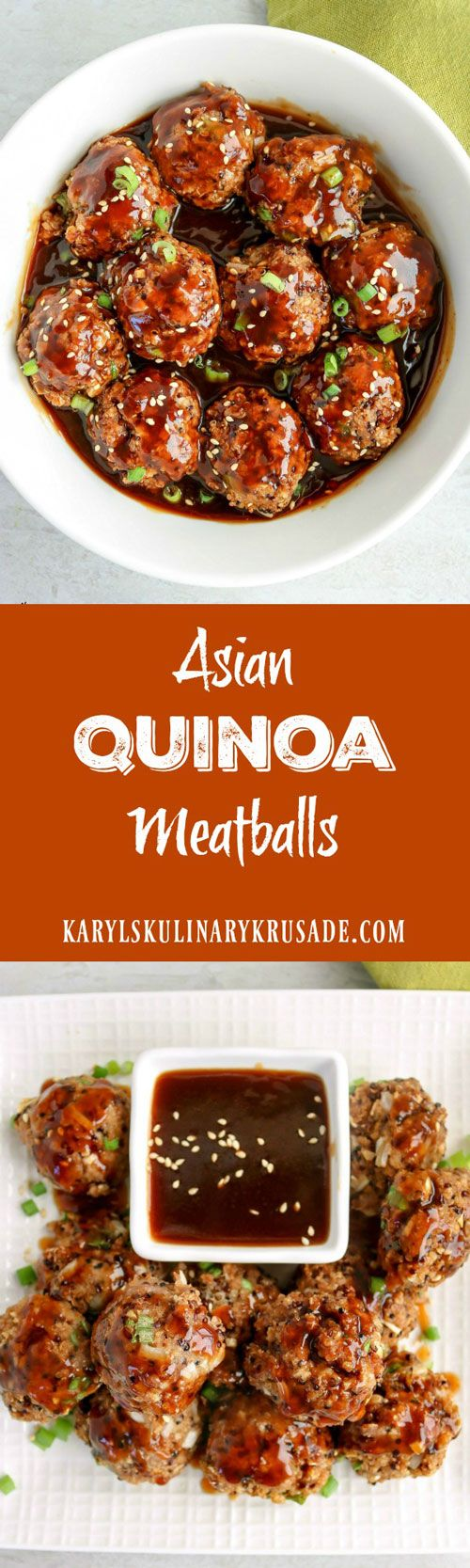 Asian Quinoa Meatballs is the perfect appetizer or lunch. Quinoa and ground turkey form a delicious and healthy meatball that you will love. Top or dip with an Asian-style sauce for a wonderful, silky finish
