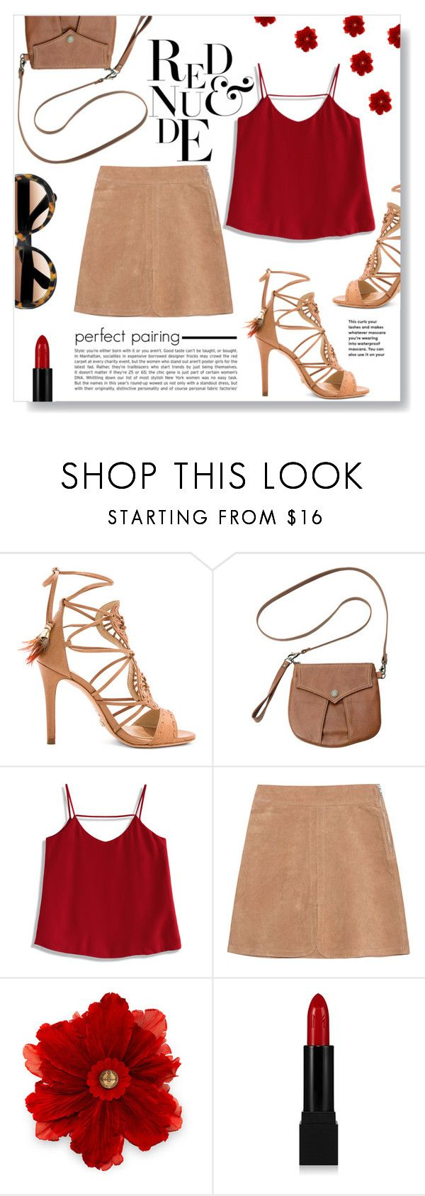 """""""// red and nude"""" by lauradeluna ❤ liked on Polyvore featuring Schutz, Hayden-Harnett, Chicwish, See by Chloé, Gucci, Forever 21, Summer, red, skirt and sandals"""