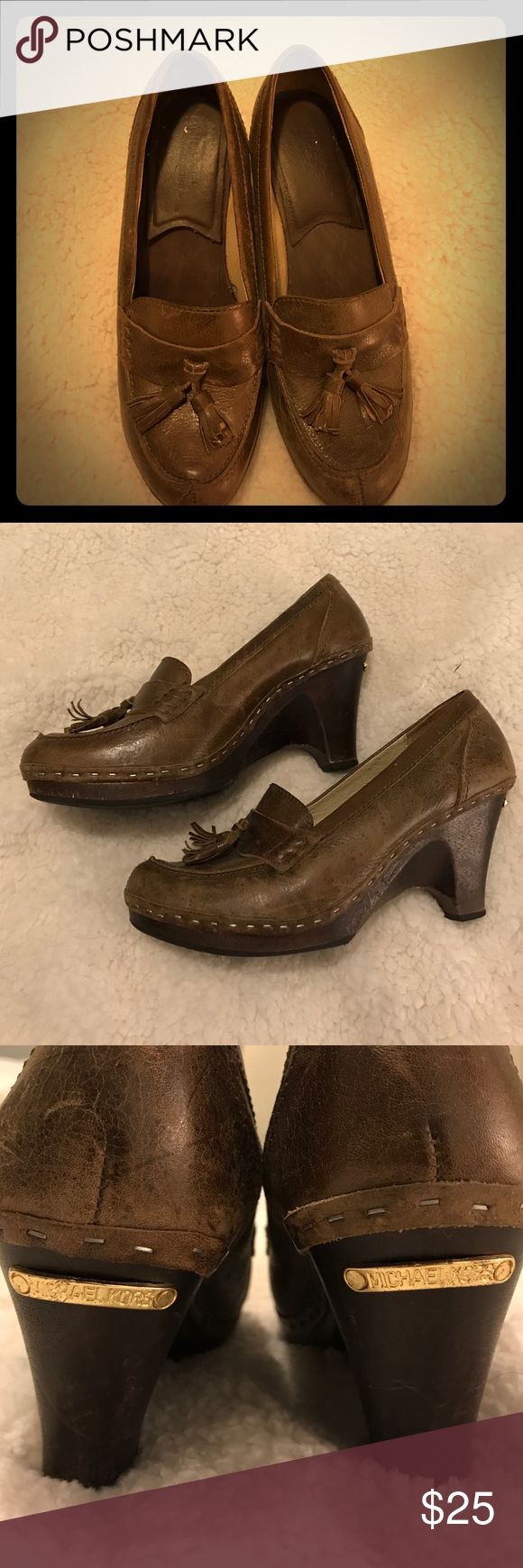 Michael Kors wedge loafers Wooden wedge heel makes these really wearable Michael Kors Shoes Wedges