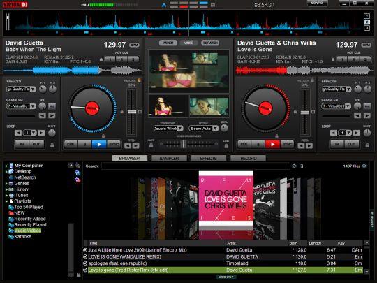Virtual DJ. Mix, scratch, and remix MP3 or music videos live.